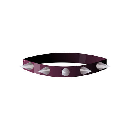 BDSM collar with steel spikes and leash isolated on white background