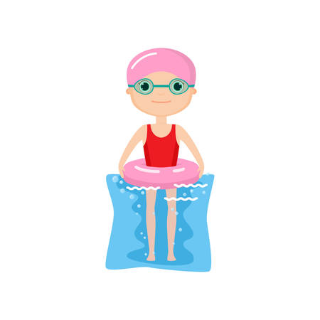 Cute animated character in swim caps and goggles with pink inflatable ring submerged in water. Summer cartoon isolated on white background. Activities and hobbies concept Illustration
