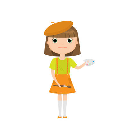 Cartoon artist girl in beret with brush and paints isolated on white background. Creative kid holding paintbrush and palette with watercolors. Activities and hobbies concept. Happy childhood