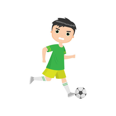 Angry boy playing soccer isolated against white background