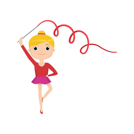 Girl in red suit with gymnastic ribbon isolated against white background