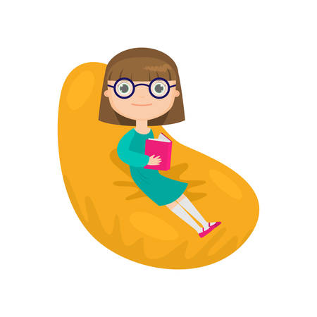 Girl in green dress and glasses sitting in easy chair and reading book along at home. Cartoon character isolated against white background. Intellectual hobby, happy childhood concept  イラスト・ベクター素材