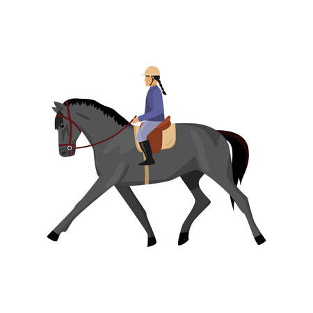 Horsewoman riding gray horse isolated against white background