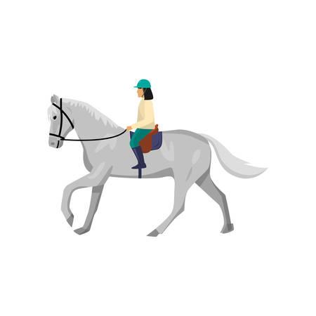 Horsewoman riding roan horse. Female jockey training thoroughbred stallion. Woman preparing animal for race. Riding lesson, horse sport, dressage, hobby.