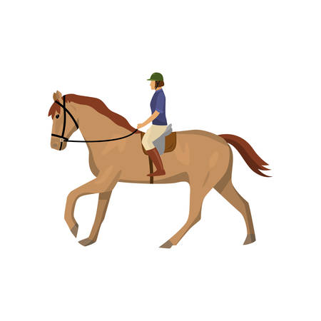 Horseracing woman in jockey uniform and green helmet isolated against white background