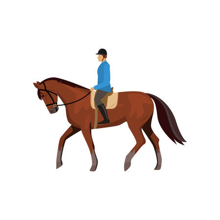 Male jockey riding horse isolated against white background. Horseracing guy. Athlete doing equestrian, taking part in competitions. Man preparing animal for race, training thoroughbred brown mustang