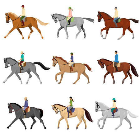 Man and woman in sportswear and helmet riding horse isolated against white background. Riding lesson, sport, hobby. Equestrian sport training, jockey horseback ride Ilustração