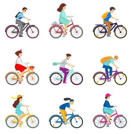 Ensemble plat d'icônes avec des cyclistes isolés sur fond blanc. Groupe de cyclistes adultes masculins et féminins en course cycliste. Utilisation du vélo comme moyen de transport concept.