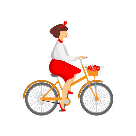 Pretty woman riding orange bicycle with flowers in basket. Young female hurry for birthday, delivering bouquet. Cartoon character on white background. Healthy lifestyle concept, eco transportation. Stock Illustratie