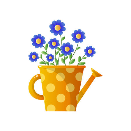 Bouquet of field flowers with blue buds in yellow dotted jug. Floral card for easter, 8 march, valentines day, birthday, wedding isolated on white background. Botanical decor for house.
