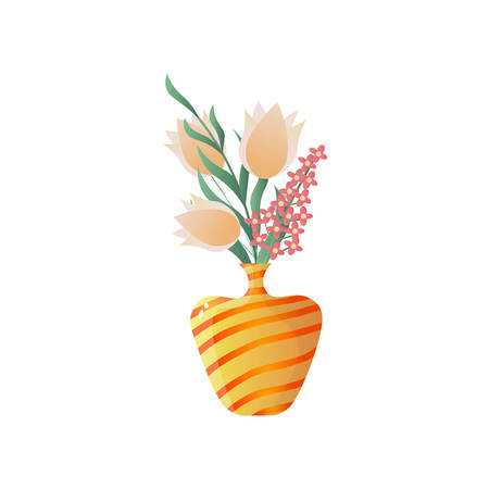 Flower composition in yellow stripped vase. Floral card for easter, 8 march, valentines day, birthday, wedding isolated on white background. Botanical decor for house.