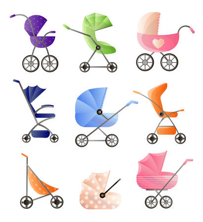 Set of modern baby strollers for web design isolated on white background Vecteurs