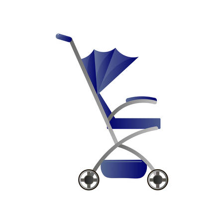 Blue walking stroller with basket isolated on white. Comfortable, easy for older children, mobile in city traffic. Kids transportation theme. Simple icon of foldable baby pram for web design