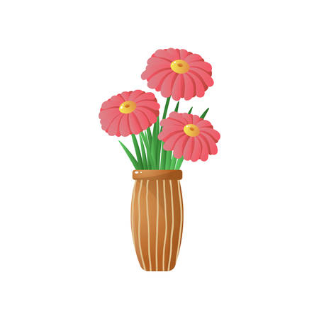 Big red gerberas in stripped brown vase Floral card for easter, 8 march, valentines day, birthday, wedding isolated on white background isolated on white background. Botanical decor for house.