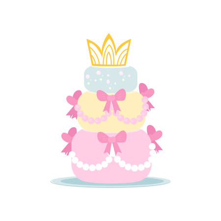 Cute three-tiered birthday or wedding cake in girlish style. Dessert with crown on top, pink bows and bubbles on sides. Greeting element template on white background. Bakery and gastronomy concept. Stock Illustratie