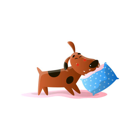 Brown cartoon dog playing with cushion isolated on white background Illustration