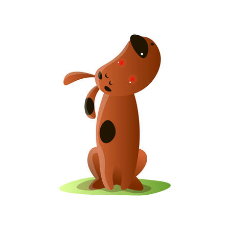 Lonely brown cartoon dog howling isolated on white background. Puppy missing by owner. Animal emotion cartoon. Normal everyday pet activities concept. Idea for phone massage stickers