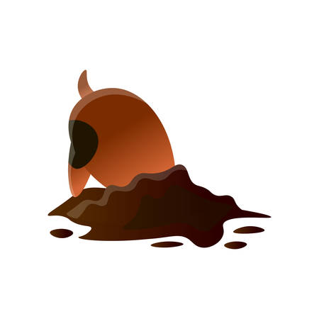 Brown cartoon dirty dog digging hole isolated on white background. Puppy making mess. Animal emotion doggy cartoon. Normal everyday pet activities concept. Idea for phone massage stickers