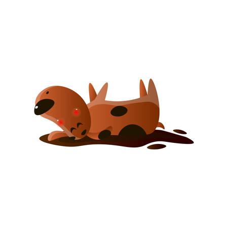 Kawai brauner Cartoon-Hund, der sich in einer Schlammpfütze wälzt, isoliert auf weißem Hintergrund