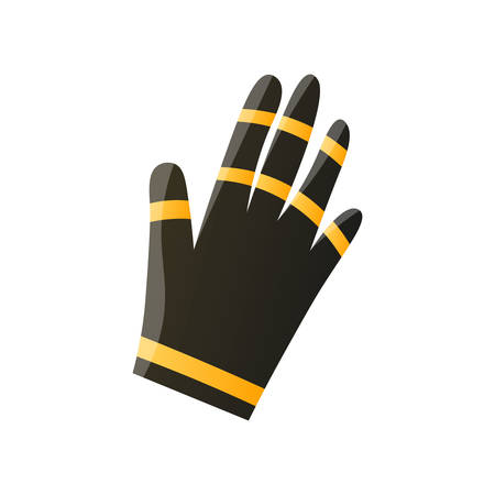 Black protective rubber glove flat icon isolated on white background