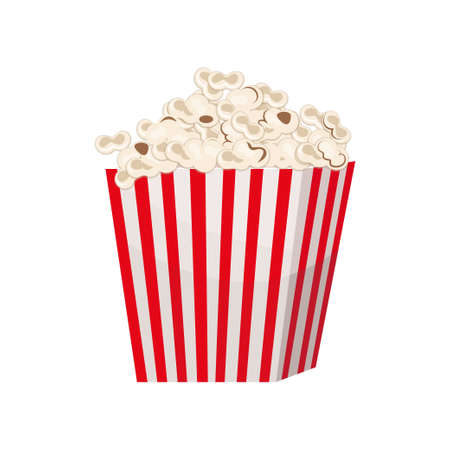 Biggest full red-and-white striped popcorn bucket isolated on white background. Cardboard or paper package. Big portion of snack. Cinema movie food concept. Advertising flyer