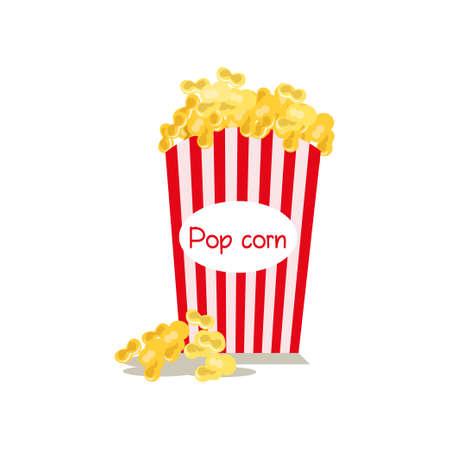Mittelgroßer, voll rot-weiß gestreifter Popcorn-Eimer mit Schriftzug und einem Hügel mit verstreuten Snacks. Karton- oder Papierpaket lokalisiert auf weißem Hintergrund. Kinofilm-Food-Konzept. Aktionsaktion