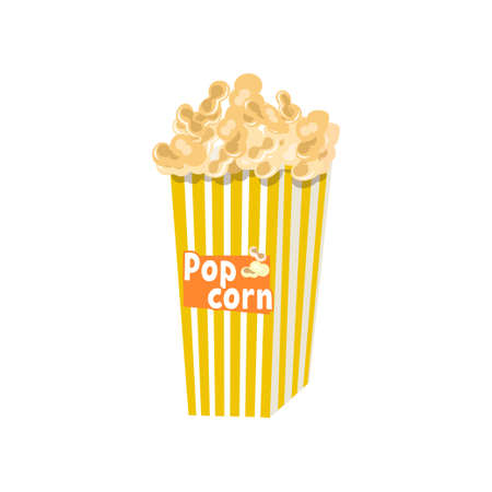 Big full yellow -and-white striped popcorn bucket with lettering. Cardboard or paper package isolated on white background. Cinema movie food concept. Advertising flyer with portion of tasty snack Illustration