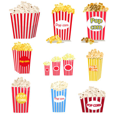 Set of full red-and-white striped popcorn buckets in variety of sizes isolated on white background. Cardboard or paper packages. Big, middle, small portions of snack. Cinema movie food concept Illustration