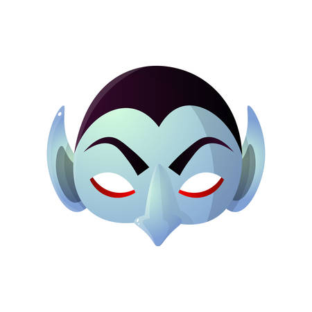 Carnival halloween, masquerade earl dracula isolated on white background. Flat design booth prop. Cute cartoon male masquerader for party.