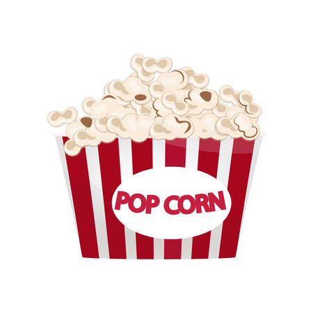 Largest red-and-white popcorn bucket filled with snack isolated on white background Illustration
