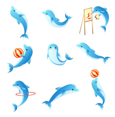 Set of cartoon small blue dolphins with different activities. Nine animals playing with ball, red ring, jumping, swimming, drawing, smiling isolated on white background. Tricks Collection