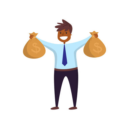 Smiling afro-american employee holding two big heavy bag of money turned to viewer on white. Excited businessman with cash in arms wide apart. Good fortune, success, enrichment, luck, wealth concept Illustration