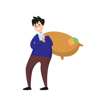 Smiling businessman walking and carrying heavy sack full of cash money. Green banknotes fall out of the hole in package. Good fortune, success, enrichment, luck, wealth concept
