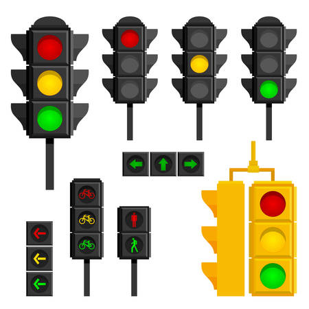 Set of traffic lights isolated on white background. Flat signal of different types icons. Sequence lights such as red, yellow, green and turn, go, wait for pedestrian and mopedists. Semaphore design.
