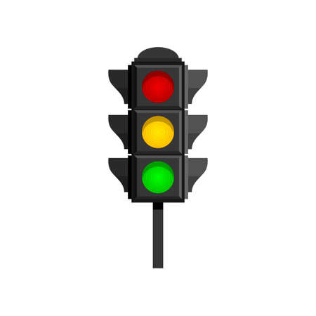 Traffic lights with red, yellow and green lamps on for drivers isolated on white background. Flashing signal with clipping path. Semaphore design. City traffic concept Ilustracja