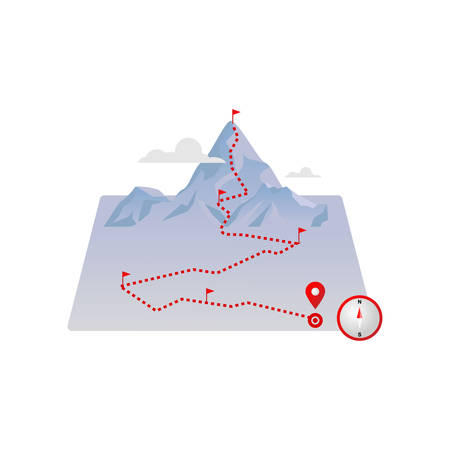 Route mountains map with red flags and paved dotted road lines