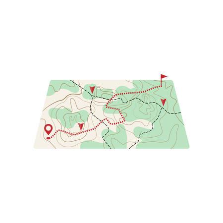 Mapa con ruta de línea de puntos al lugar de destino Ilustración de vector