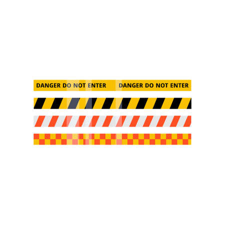 Security red, yellow, white, black stripe set isolated on white background Standard-Bild - 119917769