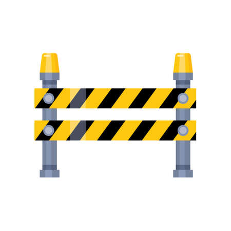 Urban blocking road sign with yellow stripes and flashing lights