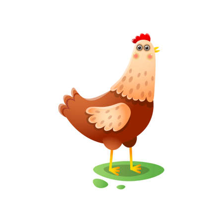 Cute kawai hen standing walking on green farmyard Иллюстрация