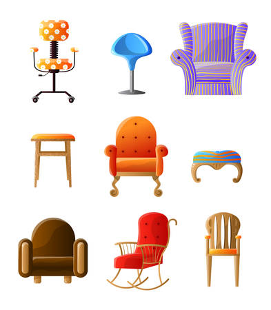 Set of colorful, comfortable chairs different types isolated on white