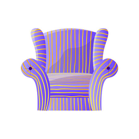 Soft purple striped lounge armchair isolated on white background Ilustracja