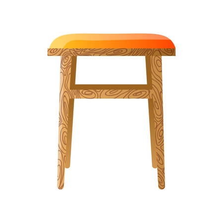 Wooden stool for the kitchen isolated on white background Illustration