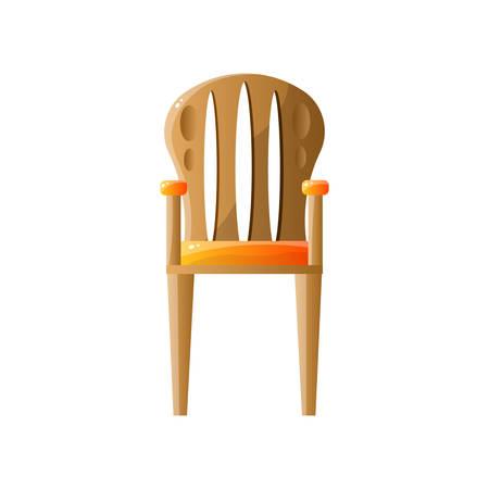 Classic retro wooden chair with backrest isolated on white background Vectores