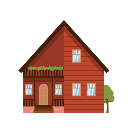 Wooden modern two-storied house isolated on white background