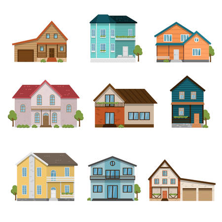 Set of houses front view icons isolated on white background Illustration