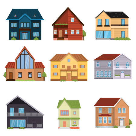 Set of designed houses of different configurations, floors and forms Stockfoto - 119918226
