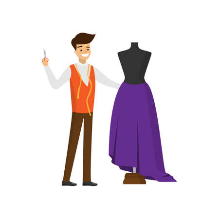 Smiling tailor with scissors in one hand standing near mannequin Vectores