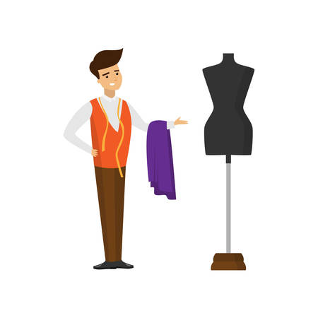 Tailor standing with cut of fabric and measuring tape and pointing hand at mannequin Иллюстрация