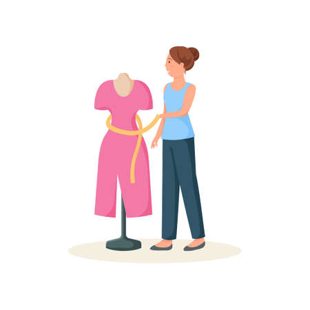 Seamstress standing near mannequin in red dress tying yellow belt